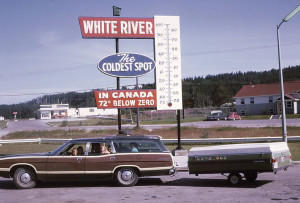Station Wagon Towing the tent trailer - CAMPING IN WHITE RIVER CANADA