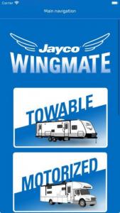 Jayco Wingmate app - home page