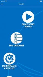 Jayco Wingmate app - quickstart page